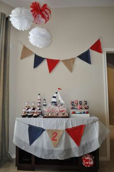 Photo 7 of Sailor/nautical / Birthday Alessandros Nautical Bday Party! Nautical Mickey, Nautical Party, Nautical Bunting, Sailor Party, Sailor Theme, First Birthday Parties, First Birthdays, Baby Shower Parties, Party Time