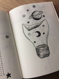 Bullet journal moon and stars Moon Sketches, Bullet Journal Notebook, Bullet Journal Inspiration, Journal Ideas, Creative Journal, Lettering Tutorial, Black And White Drawing, Pastel Drawing, Planner