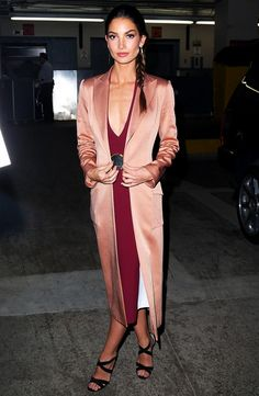 Lily Aldridge & Gigi Hadid Took a Beyonce Dance Class & We Have Video Proof!: Photo Lily Aldridge looks super glam after stopping by the Huffington Post offices on Monday (December in New York City. The model will be featured in… Lily Aldridge, Valentino, Satin Coat, Vogue, Cold Weather Outfits, Most Beautiful Women, Passion For Fashion, Fashion Forward, What To Wear