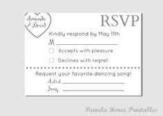 Personalized Wedding RSVP Card with Song by PamelaReneeDesigns, $7.00