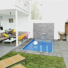 Garden Pool Terrace Ideas In order to have a great Modern Garden Decoration, it's helpful to be ready … Small Backyard Pools, Backyard Pool Designs, Small Pools, Swimming Pools Backyard, Garden Pool, Terrace Garden, Garden Seating, Small Pool Design, Mini Pool