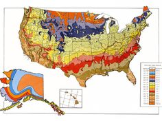 Plant Hardiness Zone 1990 by USDA via npr.org: The new 2012 Map has plant zones moving north. The higher the zone number, the warmer your average winter temperature and the earlier you can plant in the spring. #Gardening #Plant_Hardiness_Zone #USDA #npr