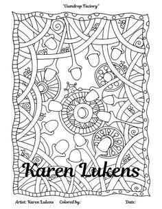 gumdrop factory 1 adult coloring book page christmas decorations karen lukens