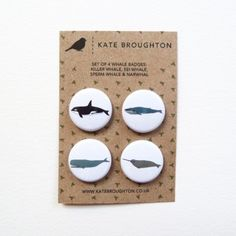 Whale Badges (set of four)