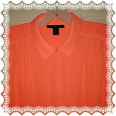 SALE!! Tangerine sleeveless long top Forever 21 Very pretty with top front pleats, long pleats in back., fabulous with white slacks. Forever 21 Tops