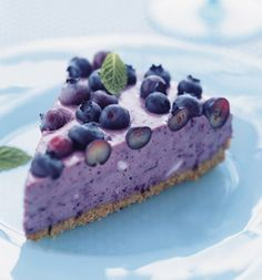Blueberry Icebox Pie by holidayspage#PIe #Blueberry_Icebox -- basically a no-bake blueberry cheesecake. :)