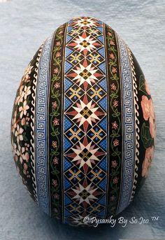 WIP Bluebird Pysanka Pysanky Ukrainian Easter Egg by So Jeo