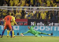 Robin Olsen of Sweden makes a save during the FIFA World Cup Qualifier between…