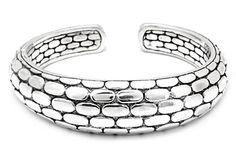 Silver Kick Cuff Bracelet, Geometrical Motif