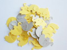 Yellow & Gray Elephant Confetti, Die Cuts, Baby Shower, Birthday Party, Table Decor,  100