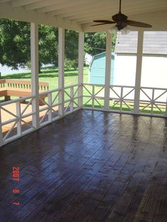 Idea for our screened in porch.  White walls, white rafters and stained (unpainted floor)