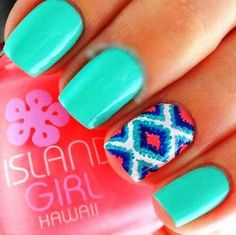I like the design, but I would do different colors that complement the turquoise better Visit my site http://youtu.be/w-eJkLbcOm4 #nails #health