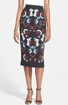 A.L.C. 'Haley' Print Silk Pencil Skirt available at #Nordstrom
