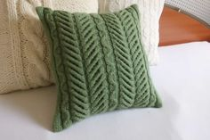 Hand knit cushion cover mint green cable knit by Adorablewares