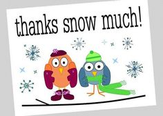 """""""thanks snow much!"""" winter greeting card // cute owl thank you card // by sari jane's"""
