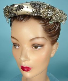 c. 1954 Lilly Dache Ivory Satin Hat with Rhinestones, Sequins and Dangle Beads