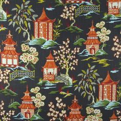 Covington Fabrics Shoji 984 Lacquer | 1502 Fabrics Fabric Design, Pattern Design, Covington Fabric, Fabulous Fabrics, Gray Background, Chinoiserie, Playroom, Printing On Fabric, Cotton Fabric