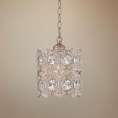 Silver Leaf Hatbox 8 1 4 Wide Crystal Pendant Light Lighting