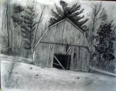 Original graphite drawing of a delapidated barn leaning with the lay of the land in Patrick County, VA. Description from sell-arts.com. I searched for this on bing.com/images