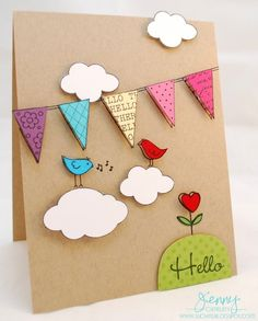 Hello Hero Arts Hostess by jennysbugbites – Cards and Paper Crafts at Splitcoaststampers - Karten Basteln Homemade Birthday Cards, Homemade Cards, Diy And Crafts, Crafts For Kids, Paper Crafts, Birthday Card Drawing, Tarjetas Diy, Valentines Diy, Creative Cards