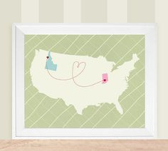 USA Love Map Customized Art Print   12x18 by HereandThereShop, $58.00