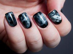 Chalkboard Nails: 31DC2013 Day 07: Black and White Midnight Smoke Nail Art