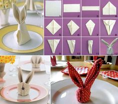Easter Bunny Napkin Tutorials easter diy diy ideas easy diy how to tutorials easter crafts easter craft easter bunny easter party ideas Bunny Napkin Fold, Napkin Folding, Easter Table, Easter Party, Easter Dinner, Easy Easter Crafts, Easter Ideas, Bunny Crafts, Easter Bunny