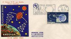 Timbre : 11-12 JUILLET 1962 PREMIÈRE LIAISON DE TÉLÉVISION PAR SATELLITE | WikiTimbres