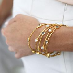 A slender stackable bangle surrounded by six brilliant gemstones. Shop THE BALI COLLECTION Gold Earrings Designs, Gold Jewellery Design, Gold Plated Bangles, Sapphire Bracelet, Jewelery, Ruby Jewelry, India Jewelry, Gold Jewelry, Jewelry Accessories