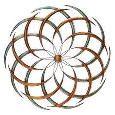 DecMode Metal Geometric Flower Wall Sculpture - Copper - 63515