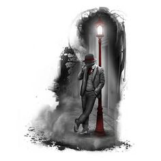 Man Leaning Against Street Lamp Tattoo Art