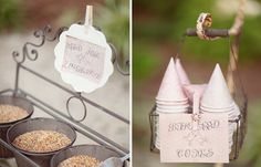 Det kanske mest miljö- och djurvänliga att kasta på brudparet är fågelfrön. [Bird seed is an eco-friendly option.] #wedding #bröllop #ecobride