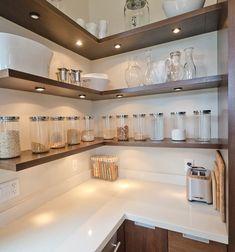 20 Smart Corner Cabinet Ideas for Every Kitchen Hanging Kitchen Cabinets, Glass Kitchen Cabinet Doors, Kitchen Desks, Modern Kitchen Cabinets, Kitchen Corner, Glass Doors, Kitchen Storage, Kitchen Room Design, Home Room Design