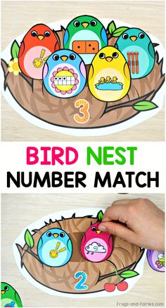 This is a great spring-summer printable activity to help your kids practice counting and number sense! In this activity, your kids will help the adorable baby birds to return to their nest! Math Activities For Toddlers, Counting Activities, Preschool Lessons, Spring Activities, Math For Kids, Preschool Learning, Kindergarten Activities, Teaching, Preschool Themes