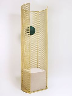 Faye Toogood , Caged Elements Chair. 2013 Seat Brass, English Hopton white Stone, Foam sphere. Limited Edition