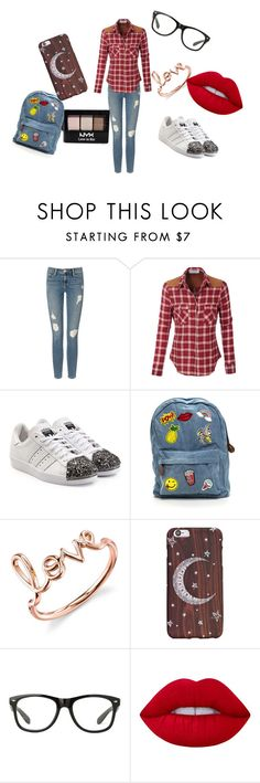 """Causual"" by meggieb7 on Polyvore featuring Frame Denim, LE3NO, adidas Originals, Sydney Evan, Lime Crime and NYX"
