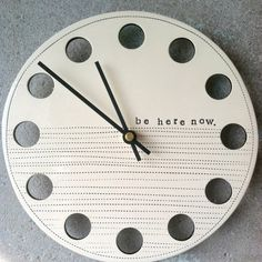 """""""Be Here Now"""" wall clock de-emphasizes time...and a nod to my favorite Oasis album"""