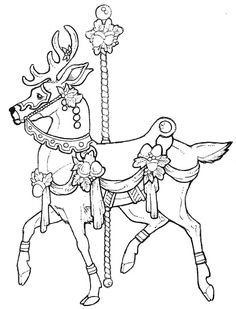 Carousel Coloring Pages | Carousel animals coloring pages