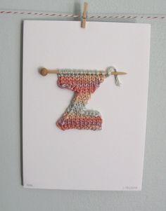 Knit Letter Card. $20.00, via Etsy.