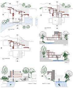 Frank Lloyd Wright Design Philosophy frank lloyd wright, fallingwater, isometric /section drawing