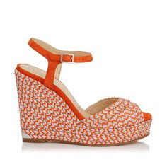 b122eafff4e Perla 120 Cork Wedges in Pop Orange Suede and Metallic Woven. Discover our  Collection and shop the latest trends today.