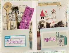 Travel journal with pockets for photos and souvenirs like ticket stubs.