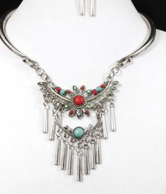 Cowgirl Bling BOHO Rustic Silver Turquoise Coral Tribal Artsy necklace set #other
