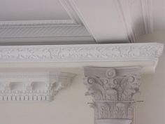 Polyurethane crown molding for interior and exterior molding building projects including crown, dentil and panal moldings. Dream Dining Room, Crown Molding, Victorian, Interior And Exterior, Exterior Renovation, Remodel, Ceiling Art, Home Decor, Molding