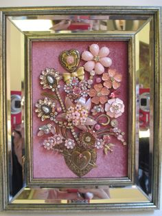 Jeweled Framed Jewelry Flower Bouquet Pink Gold Hearts Valentine Mirrored by audreymivey on Etsy