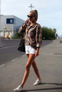 OUTFIT: white denim shorts, flannel shirt, white chuck taylors