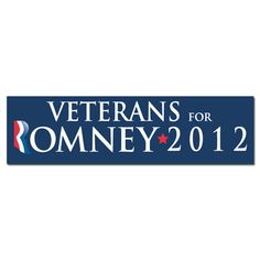 """$3.00 -- Show your support for Mitt Romney everywhere you go with this Mitt Romney for President 2012 Bumper Sticker.  • 3"""" x 9""""  • Strong & durable adhesive  • Removable vinyl to protect the bumper  • Easy application  • Made in the U.S.A.  #mittromney #veterans #election #2012 #republican (http://www.themittromneystore.com/veterans-for-romney-bumper-sticker/)"""