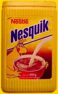 Nesquik - this is what ours looked like when i was little. Don't remember the character on there but I still totally remember the feel of that ridged plastic container :)