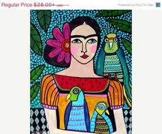 50% Off Mexican Folk Art Frida Kahlo Day of von HeatherGallerArt