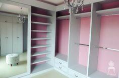 chic walk-in closet, pink closet, gray closet